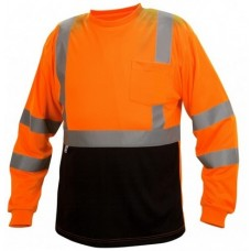 Pyramex RLTS3120B Hi Vis Orange Black Bottom Long Sleeve Safety Shirt, Type R / Class 3, With Reflective Tape