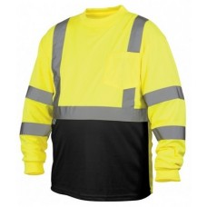 Pyramex RLTS3110B Hi Vis Lime/Yellow Black Bottom Long Sleeve Safety Shirt, Type R / Class 3, With Reflective Tape