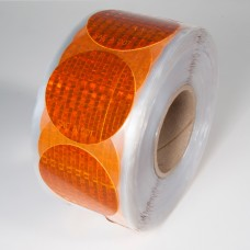"3"" Amber Reflex Reflective Stick-On Reflectors - 50 Per Roll"