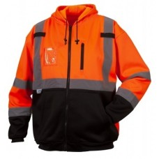 Pyramex RSZH3320 Hi Vis Orange Premium Zipper Sweatshirt - Class 3