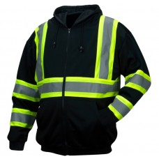 Pyramex RSZH3411 Hi Vis Black Reflective Safety Sweatshirt with Hood - Type O - Class 1