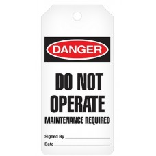 Incom Tags By-The-Roll: DANGER Do Not Operate Maint. Required - 100/Roll