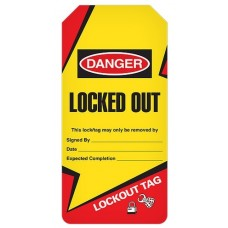 Incom Tags By-The-Roll: DANGER Locked Out (Lightning Bolt) - 100/Roll