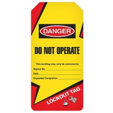 Incom Tags By-The-Roll: DANGER Do Not Operate (Lightning Bolt) - 100/Roll