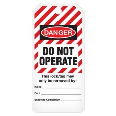 Incom Tags By-The-Roll: DANGER Do Not Operate (Striped) - 100/Roll