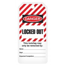 Incom Tags By-The-Roll: DANGER Locked Out (Striped) - 100/Roll
