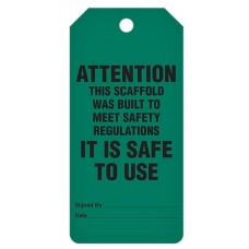 Incom Tags By-The-Roll: Scaffold Safe For Use - 100/Roll
