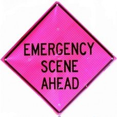 "Dicke Super Bright Pink - 48"" Reflective Roll Up Sign w/ Ribs - EMERGENCY SCENE AHEAD"