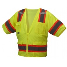 Pyramex RVZ3410 Hi Vis Yellow Surveyor Safety Vest - Type R - Class 3