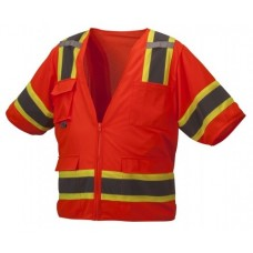 Pyramex RVZ3420 Hi Vis Orange Surveyor Safety Vest - Type R - Class 3