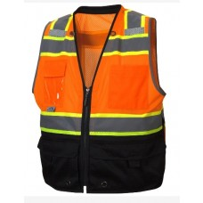 Pyramex RVZ4420B Hi Vis Orange Black Bottom Surveyor Safety Vest - Type R - Class 2