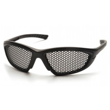 Pyramex Trifecta SB76WMD Safety Glasses, Black Frame, Punched Steel Lens