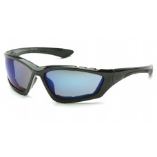 Pyramex Accurist Safety Glasses - Black Frame - Blue Mirror Lens (Closeout - Limited Stock)