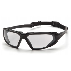 Pyramex Highlander Safety Glasses, Black Frame, Clear Lens, Anti-Fog