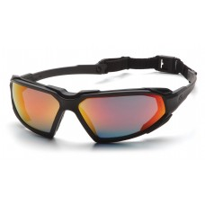 Pyramex Highlander Safety Glasses, Black Frame, Sky Red Mirror Lens, Anti-Fog