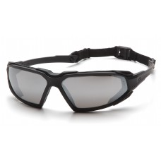 Pyramex Highlander Safety Glasses, Black Frame, Silver Mirror Lens, Anti-Fog