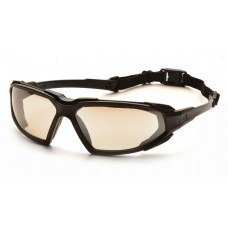 Pyramex Highlander Safety Glasses - Black Frame - Indoor/Outdoor Mirror Anti-Fog Lens