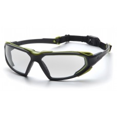 Pyramex Highlander Safety Glasses, Black / Lime Frame, Clear Lens, Anti-Fog