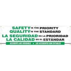 """Bilingual Safety Banner: Safety Is The Priority - Quality Is The Standard - 28"""" x 8'"""