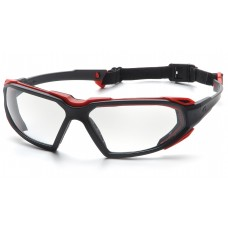 Pyramex Highlander Safety Glasses, Black / Red Frame, Clear Lens, Anti-Fog