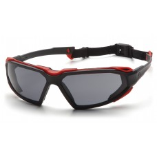 Pyramex Highlander Safety Glasses, Black / Red Frame, Gray Lens, Anti-Fog