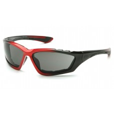 Pyramex Accurist Safety Glasses, Black / Red Frame, Gray Lens, Anti-Fog