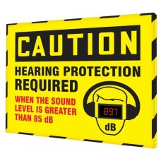 """OSHA Caution Industrial Decibel Meter Sign: Hearing Protection Required When The Sound Level Is Greater Than 85 dB - 30"""" x 36"""""""