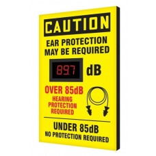 "OSHA Caution Industrial Decibel Meter Sign: Ear Protection Required Over 85dB - 20"" x 12"""