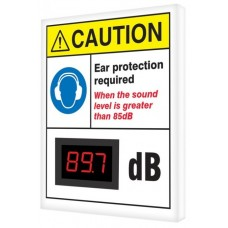 "OSHA Caution Industrial Decibel Meter Sign: Ear Protection Required When The Sound Is Greater Than 85 dB - 12"" x 10"""