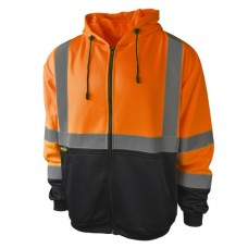 Radians SJ01B-3 Hi Vis Orange Black Bottom Safety Sweatshirt with Hood - Class 3 - (CLOSEOUT - LIMITED STOCK AVAILABLE)