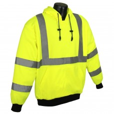 Radians SJ02-3PGS Hi Vis Yellow Safety Sweatshirt with Hood - Type R - Class 3 - (CLOSEOUT - LIMITED STOCK AVAILABLE)
