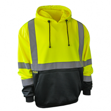 Radians SJ02B-3PGS Hi Vis Yellow Class 3 Color Blocked Hooded Sweatshirt  - Class 3 (LIMITED STOCK)