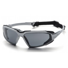 Pyramex Highlander Safety Glasses, Silver / Black Frame, Gray Lens, Anti-Fog