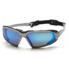 Pyramex Highlander Safety Glasses, Silver / Black Frame, Ice Blue Mirror Lens, Anti-Fog