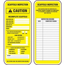 Accuform TRS323PTP Scaffold Status Safety Tag: Caution Incomplete Scaffold - 25/Pack