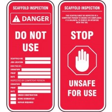 Accuform TRS347PTP Scaffold Status Safety Tag: Danger Scaffold Incomplete Unsafe For Use - 25/Pack