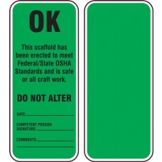 Accuform TRS348CTP Scaffold Status Safety Tag: OK- Do Not Alter - 25/Pack