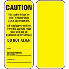 Accuform TRS349CTP Scaffold Status Safety Tag: This Scaffold Does Not Meet Federal/State OSHA Specifications - 25/Pack