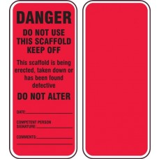 Accuform TRS351CTP Scaffold Status Safety Tag: Do Not Use This Scaffold- Keep Off - 25/Pack