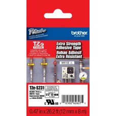 Brother TZES231 - 0.47 in x 26.2 ft - Black Ink on White P-Touch Label - Extra Strength Adhesive