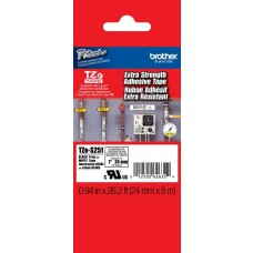 Brother TZES251 - 0.94 in x 26.2 ft - Black Ink on White P-Touch Label - Extra Strength Adhesive
