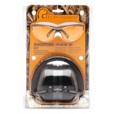 Ducks Unlimited Shooting Eyewear Kit, PM8010 Earmuff with Venture 3, Black Frame,  Orange Lens