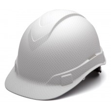 Pyramex Ridgeline White Graphite Pattern Hard Hat Cap Style 4 Pt Ratchet Suspension HP44116