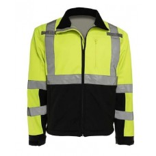 Liberty C16728GB Hi Vis Lime/Yellow Fleece Lined Soft Shell Jacket With Black Bottom, Type R / Class 3