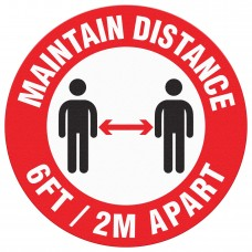 """MAINTAIN DISTANCE - Floor Sign - 8"""" Dia. - 10 / Pack"""