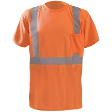 "OccuNomix LUX-SSTP2BX Class 2 Short Sleeve Wicking Birdseye ""X"" Back T-Shirt, Hi Vis Orange"