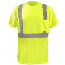 "OccuNomix LUX-SSTP2BX Class 2 Short Sleeve Wicking Birdseye ""X"" Back T-Shirt, Hi Vis Lime/Yellow"