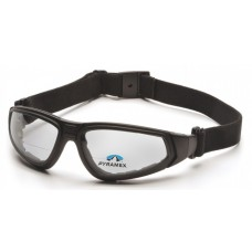 Pyramex GB4010STR15 XSG Reader Safety Glasses Clear Bifocal +1.5 H2X Anti-Fog Reader Lens with Black Strap/Temples