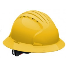 JSP Evolution Deluxe 6161 Full Brim Hard Hat, Non-Vented, Yellow (CLEARANCE)