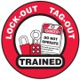 """Lock-Out-Tag-Out Trained Hard Hat Sticker, 2-1/4"""", 10/Pk"""